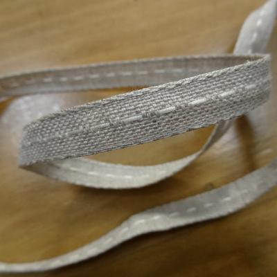 Ruban lin naturel avec couture 1