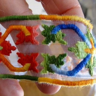 Ruban organza brode multicolore 3