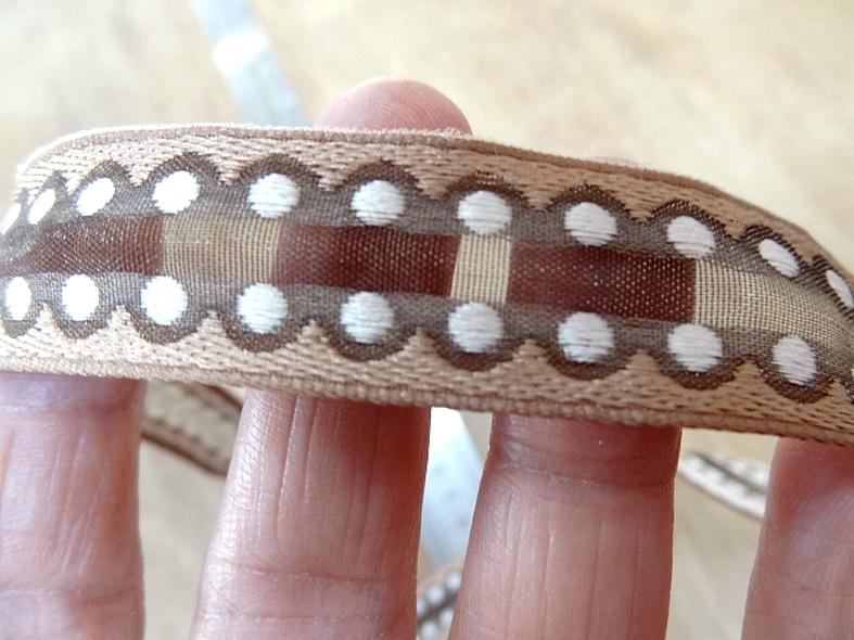 Ruban organza brode semi transparent brun beige ecru 3