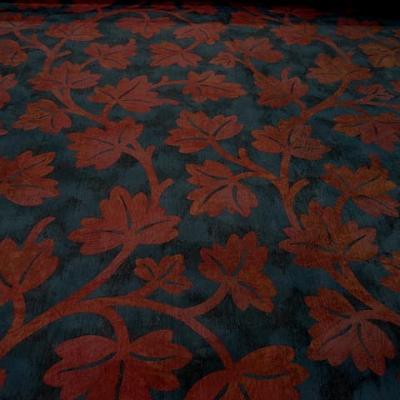 Satin ameublement bleu de prusse feuilles rouge cardinal 1