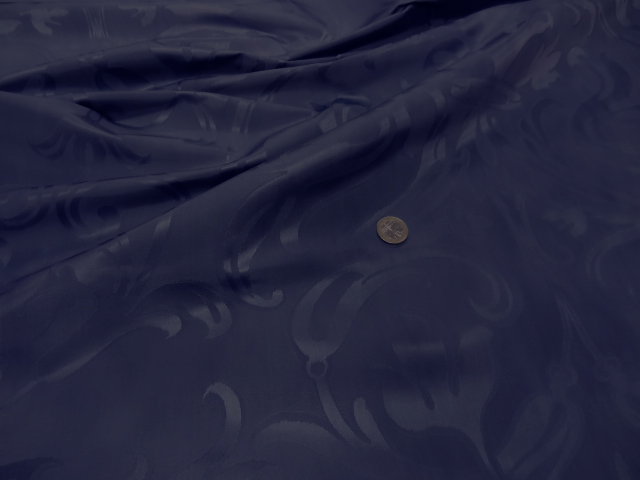 Satin bleu cobalt motif fleur de lis xl 2