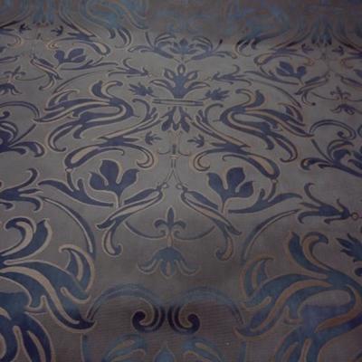 Satin damasse classique bleu acier beige 2