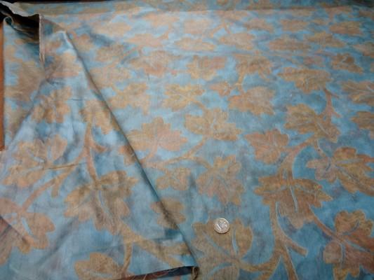 Satin damasse imprime bleu dore 6 1