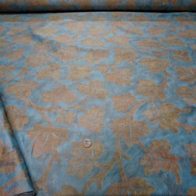 Satin damasse imprime bleu dore 6 2