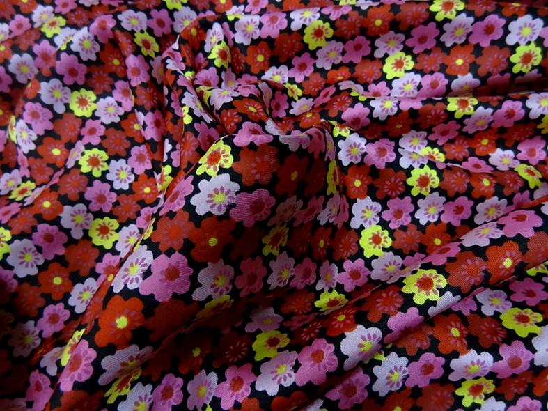 Satin de soie imprime fleuri teintes peps 2