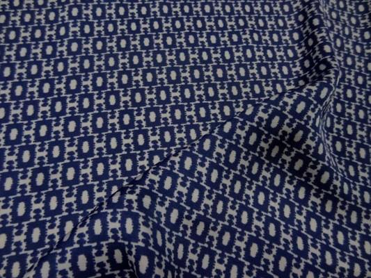 Satin fin imprimé bleu marine blanc 9