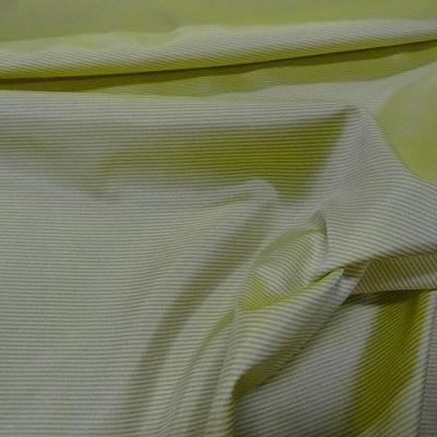 Satin polyester viscose jaune poussin raye gris 3