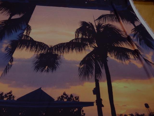 Satin viscose coucher de soleil palmiers 2
