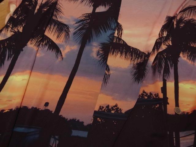 Satin viscose coucher de soleil palmiers 3