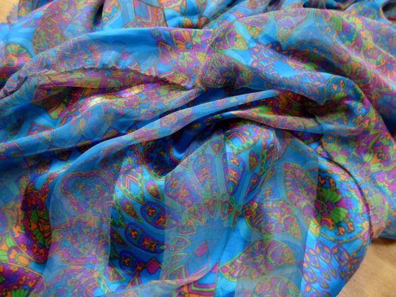 Soie bandes satin et mousseline bleu motifs cachemire 1