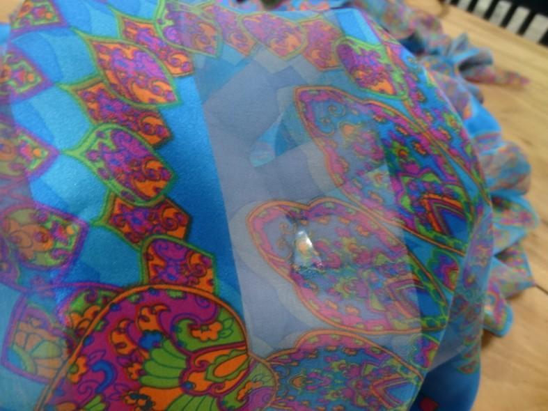 Soie bandes satin et mousseline bleu motifs cachemire 2