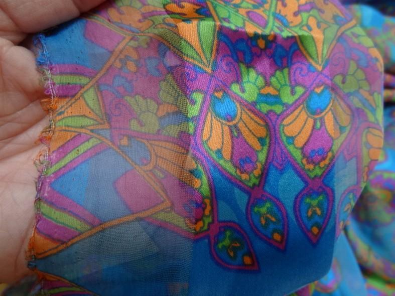 Soie bandes satin et mousseline bleu motifs cachemire 3