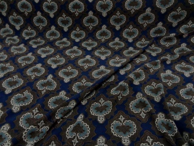 Suedine imprimee marron bleu marine 1