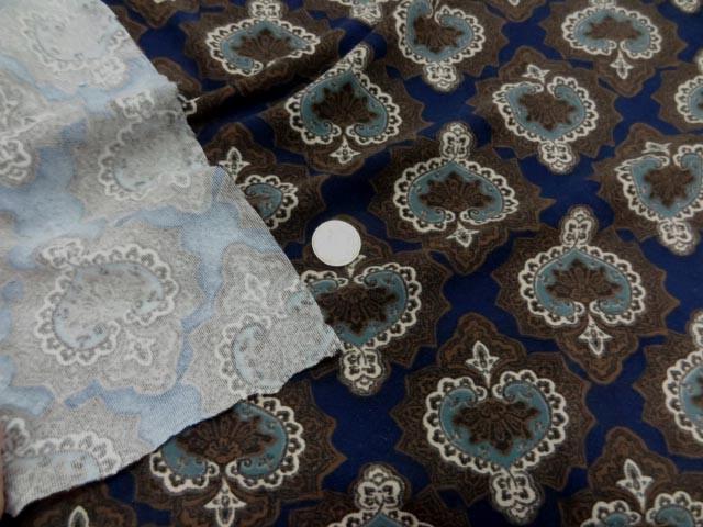 Suedine imprimee marron bleu marine 2