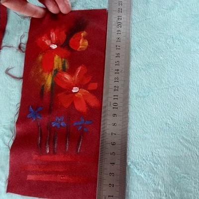 Suedine peinte bouquet de fleurs 01