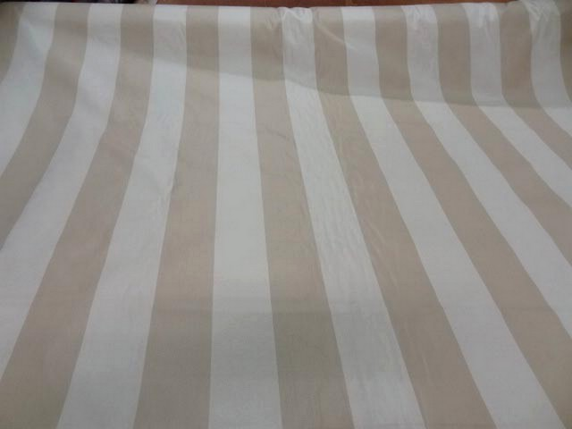 Taffetas ameublement larges rayures blanc casse beige 1 1