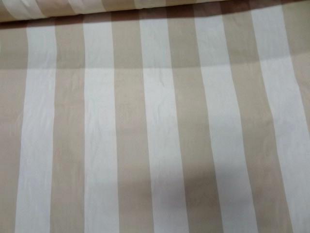 Taffetas ameublement larges rayures blanc casse beige 2 1
