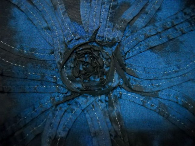 Taffetas bleu noir rebrode de rubans formant des fleurs 3