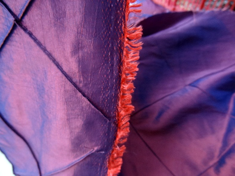 Taffetas bleu rose coutures arlequin 4