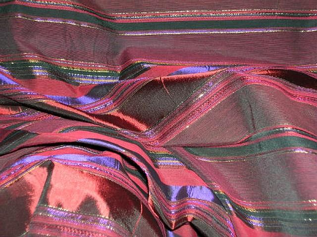 Taffetas bordeaux rayures variables violet or 2