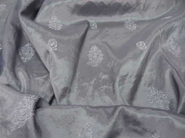 Taffetas changeant faconne gris metal