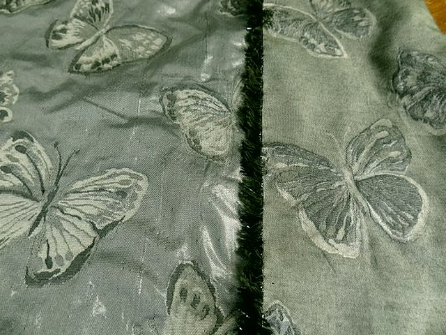 Taffetas damasse papillons vert lichen vert bronze 2