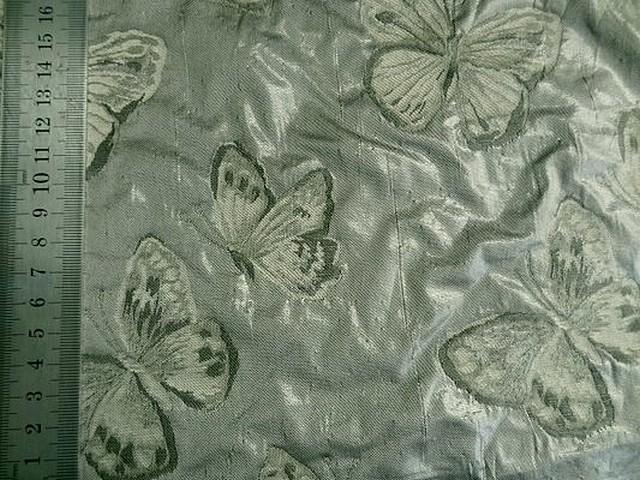 Taffetas damasse papillons vert lichen vert bronze 3