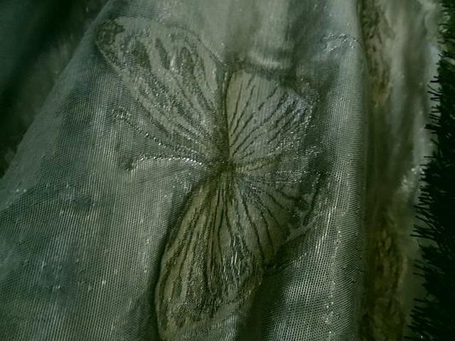 Taffetas damasse papillons vert lichen vert bronze 4