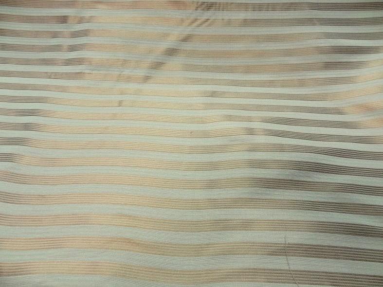 Taffetas de soie blanc casse raye or cuivre style empire 1