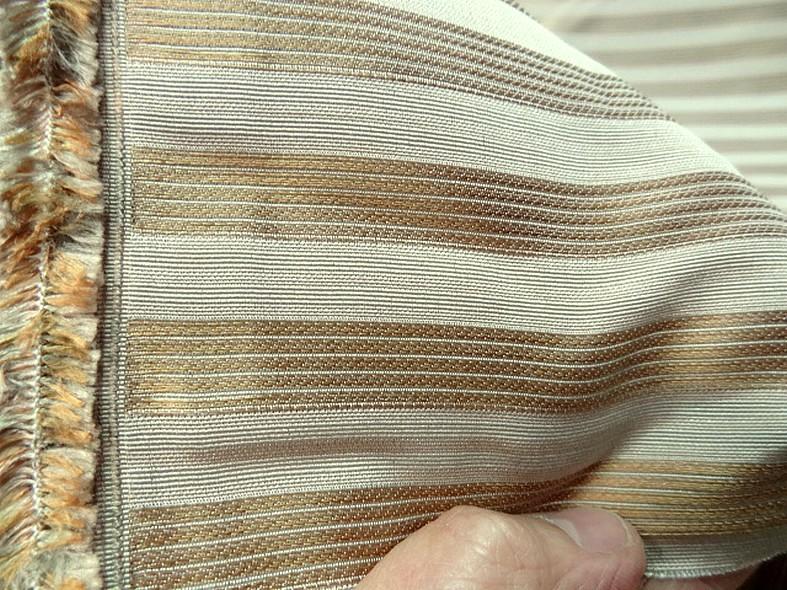 Taffetas de soie blanc casse raye or cuivre style empire 2
