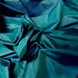 Taffetas de soie bleu vert lumineux et indigo