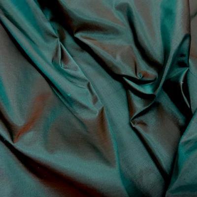 Taffetas de soie chatain vert paon changeant 2