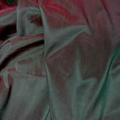 Taffetas effet doupions cerise vert meleze