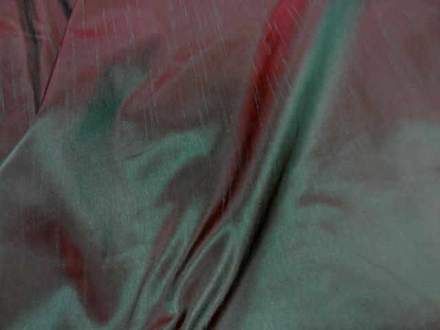 Taffetas effet doupions cerise vert meleze 3