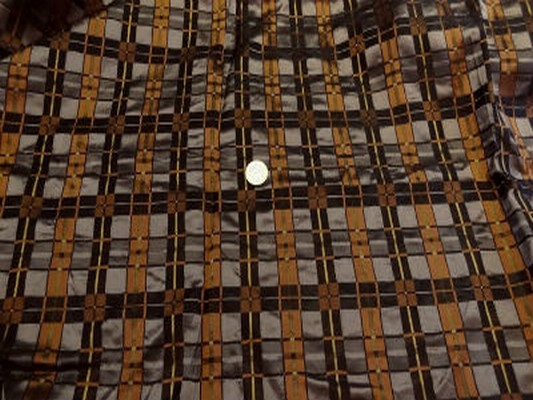 Taffetas façonné carreaux marron cuivre 01