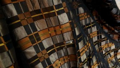 Taffetas façonné carreaux marron cuivre 03