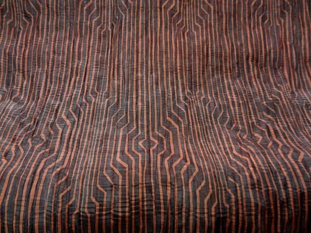 Taffetas fin plisse rayures fantaisie bordeaux corail 1
