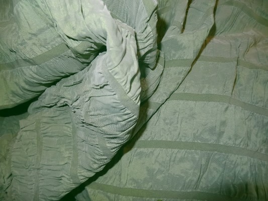 Taffetas froncé élastique vert pâle-mauve 1