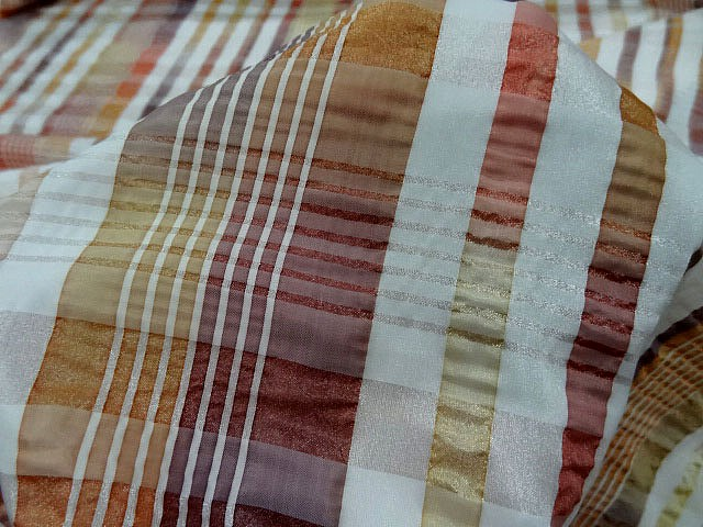 Taffetas gaufre motif madras ocre cuivre 4