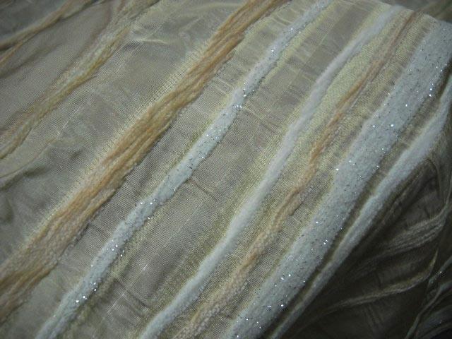 Taffetas ivoire bandes velours