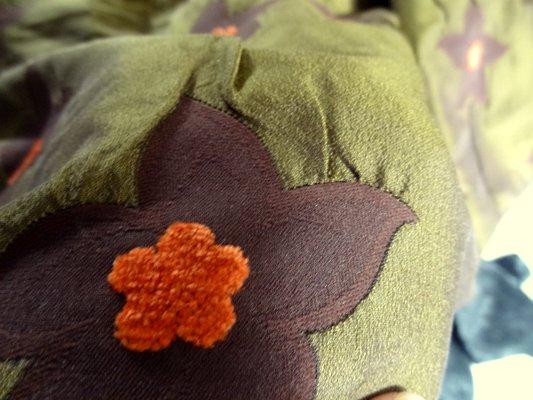 Taffetas kaki velours chenille carotte 04