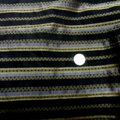 Taffetas noir raye metallise or et argent 1