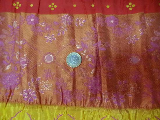 Taffetas plisse fronces brodees orangees 3