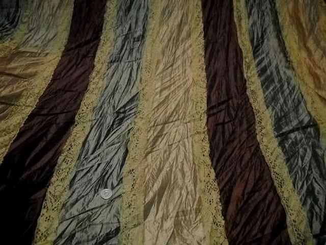 Taffetas plisse rayures kaki or pale marron galon dentelle mais