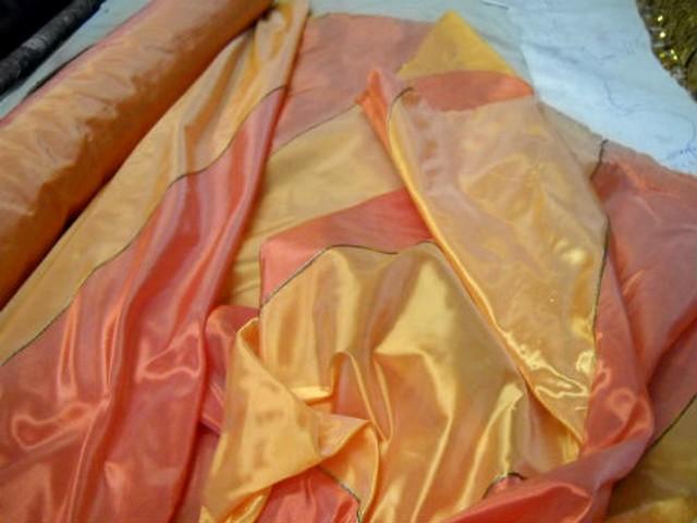 Taffetas raye corail et mandarine 2