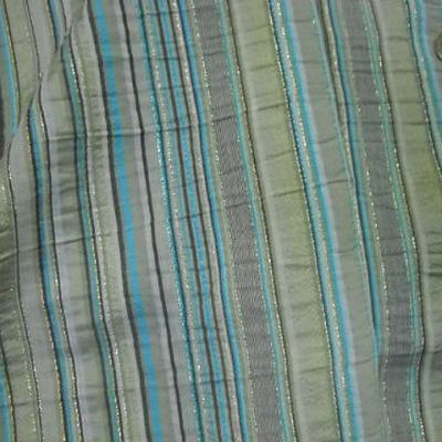 Taffetas rayures bayadere beige turquoise lurex 1