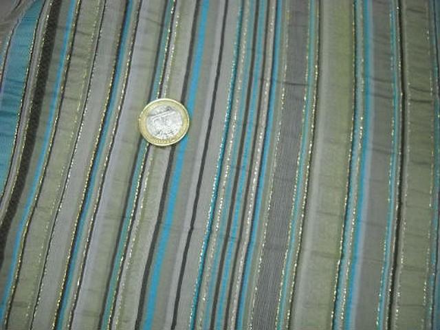 Taffetas rayures bayadere beige turquoise lurex 3