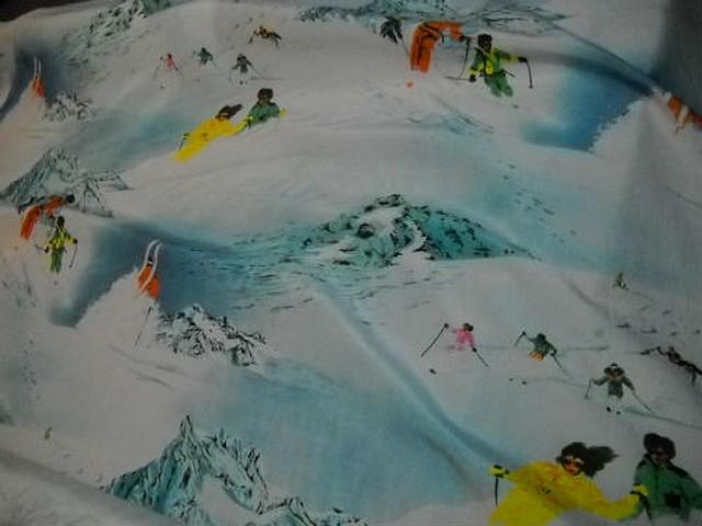 Taffetas souple motifs skieurs et montagnes 2
