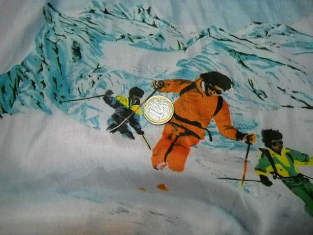 Taffetas souple motifs skieurs et montagnes 3