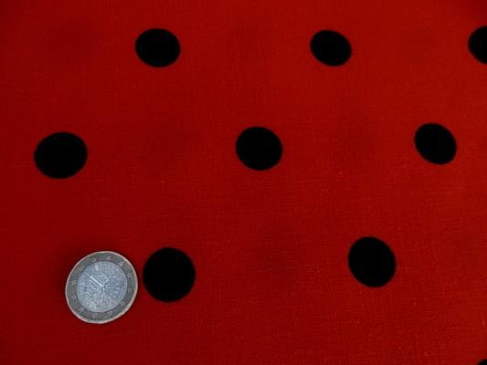 Tergal lin rouge pois noirs 02